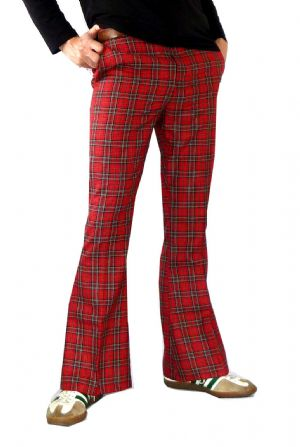 Classic High Rise Flares - Bell Bottoms Glam Rock High Rise Trousers Pants - Red Tartan